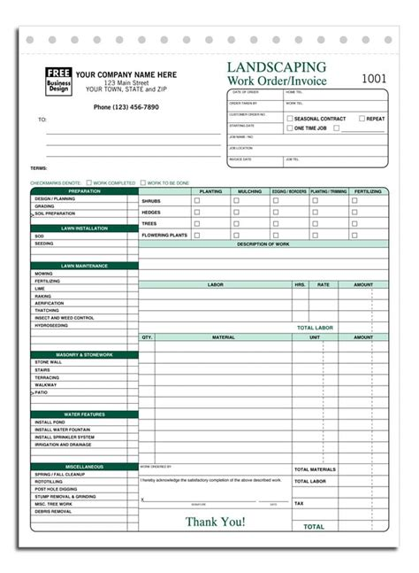 landscaping invoice template excelxocom