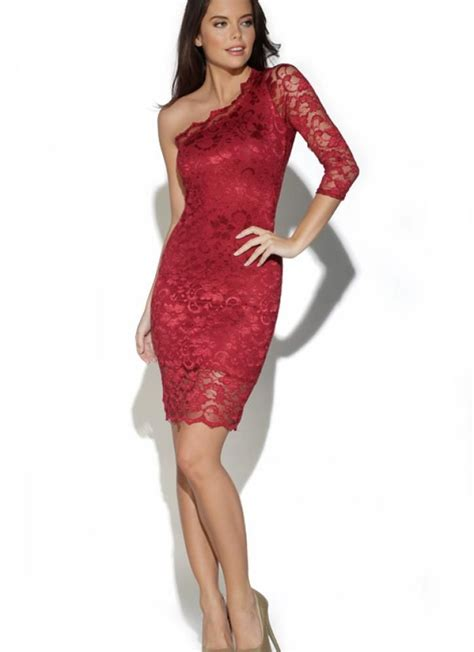 Red Cocktail Dress  Red One Shoulder Long Sleeve