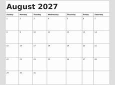 August 2027 Calendar Template