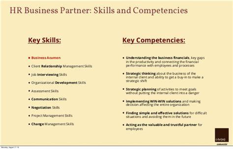 skills and competencies resumes key skills for hr resume resume ideas