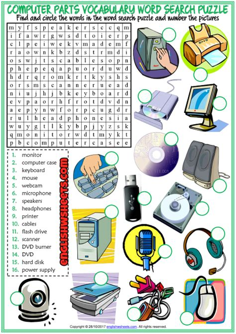 computer parts esl word search puzzle worksheet  kids