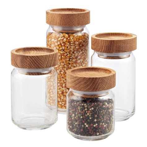 kitchen glass canisters with lids set of artisan glass canisters with oak lids the