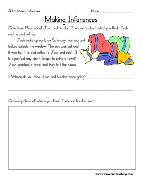 inferences worksheets page 2 of 2 teaching