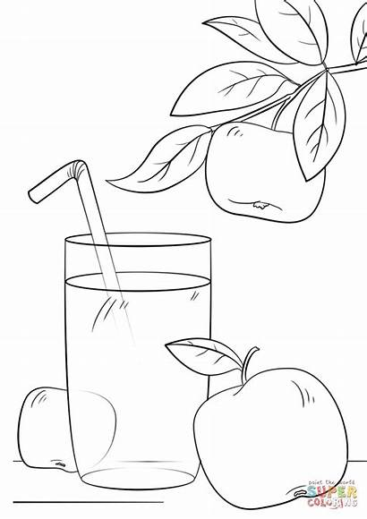 Juice Coloring Apple Pages Colouring Printable Fresh