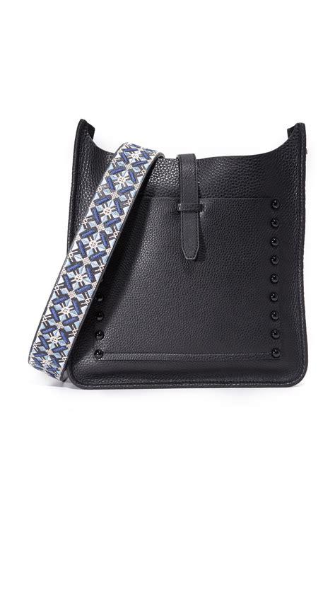 rebecca minkoff leather embroidered handbag guitar strap lyst