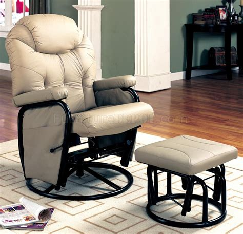rocker glider recliner with ottoman bone leatherette modern reclining glider rocker chair w