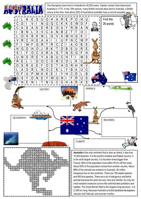 australia wordsearch and mindmap worksheet free esl