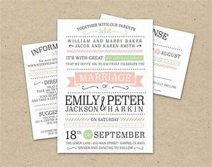 Wedding invitation template modern pink green simple for Modern wedding invitations free samples