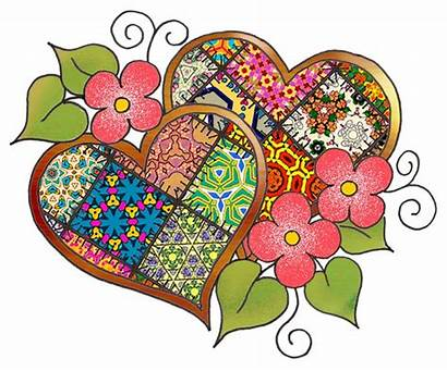 Clip Patchwork Heart Hearts Clipart Different Patterns