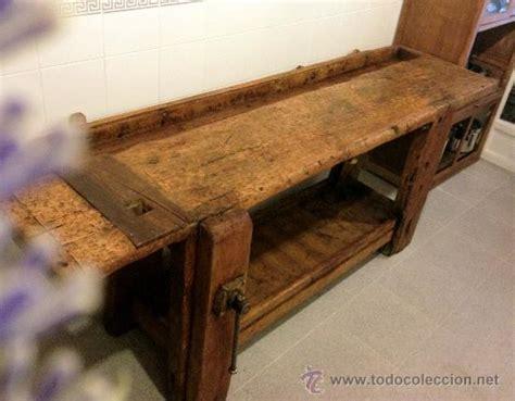 antiguo  soberbio banco de carpintero de pino comprar