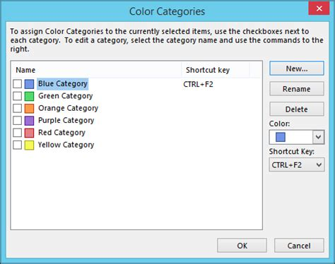 color categories beginner how to create manage and assign categories in