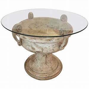 Large Elegant Carved Wood Italian Urn Table Base For Sale