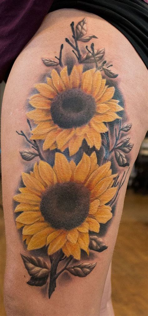 sunflower thigh tattoo   john kautz sunflowertattoo flowertattoo tattoos pinterest