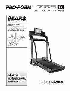 Proform 785 Tl Treadmill User Manual