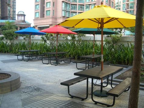 picnic table  benches  umbrella outdoor picnic