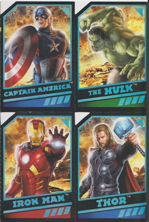 avengers birthday card  perferated trading cards