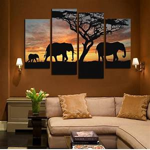 4 Panels Elephant in Sunsetting Print Canvas Painting for ...