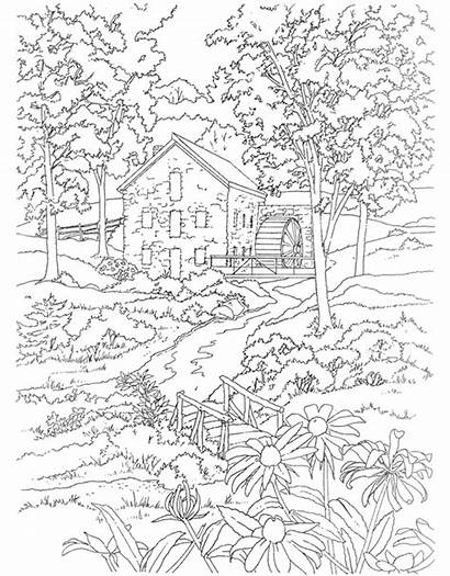 Coloring Pages Adults Landscape Detailed Scenery Country