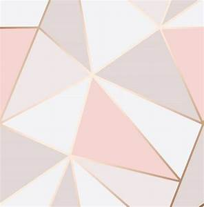 Fine Decor Apex Geo Pink Rose Gold Wallpaper FD41993