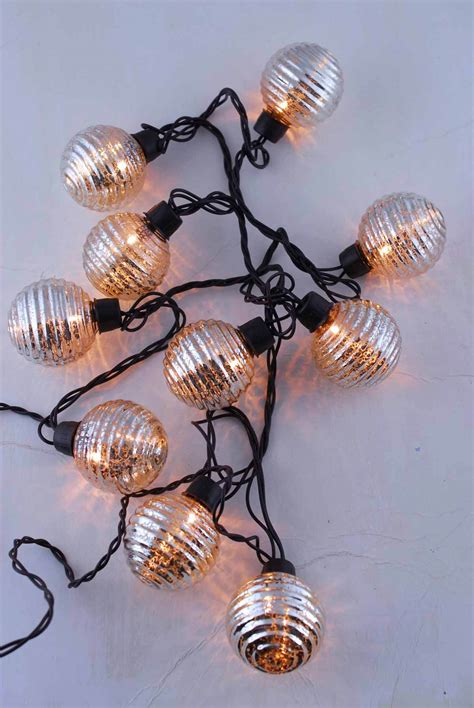 globe lights mercury glass string light    ft ct outdoor