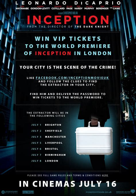 win london premiere   inception briefcase hunt