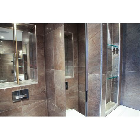 soft melt tiled small steam room  grey elements drawer
