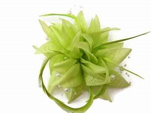 Lime Green Flower Feather Pearl Bead Hair Clip Fascinator