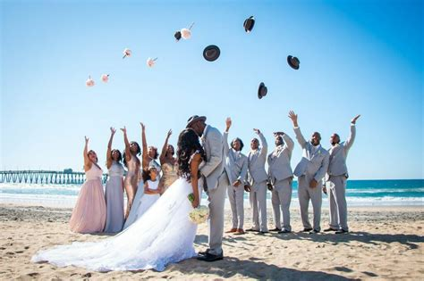 fun wedding party photo   beach san diego wedding