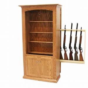 Hidden Gun Storage Bookcase Amish Gun Cabinet Oak
