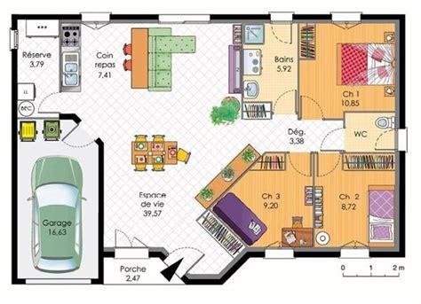 plan maison en l plain pied 3 chambres plan de maison plain pied avec 4 chambres plans maisons