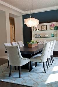 Blue, Transitional, Dining, Room, With, Eye