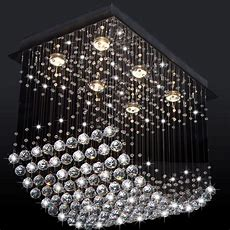 Luxury Modern Led Wave Clear Crystal Chandelier Light