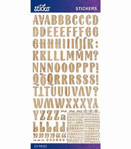 sticko wood grain blanc small alphabet stickers at joanncom With letter stickers for wood