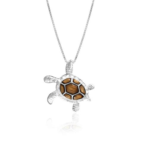 Sterling Silver Koa Wood Turtle Pendant Necklace