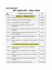 Cpt Code List 2014