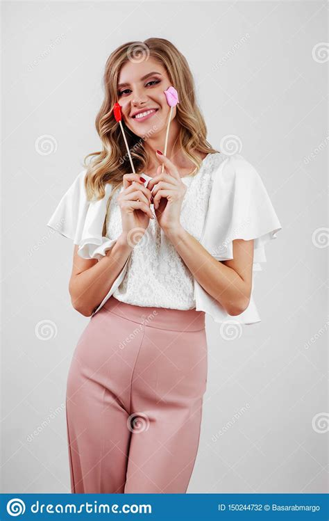 Cute Blonde Girl Posing Like A Doll In Funny Portrait Stock Photo Image Of Cute Creative