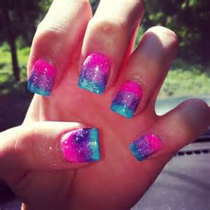 Pink blue and purple ombr? w sparkles nail art nails
