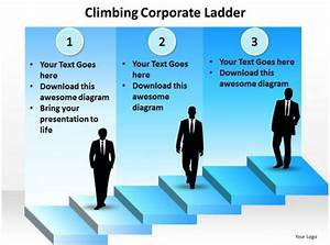 Climbing Corporate Ladder With Silhouette Of Business Men