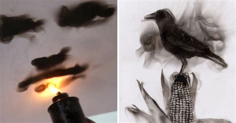 artist paints  fire engraving lines  candle soot
