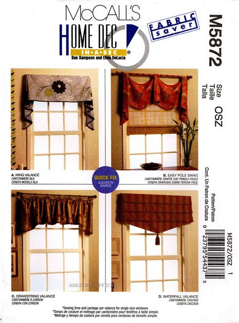Sewing Patterns For Drapes - mccall s sewing pattern m5872 valances swag 5872 curtains