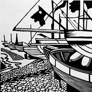 Hastings Beach Linocut Lino Print