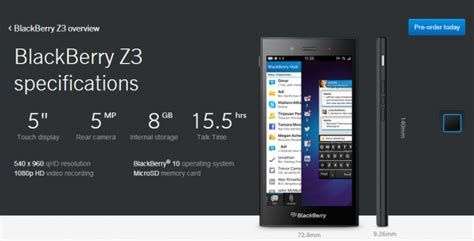 blackberry z3 specifications launch date and price in