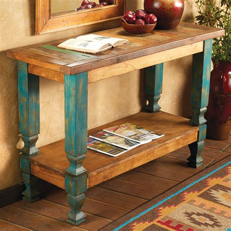 western furniture  wood turquoise console tablelone