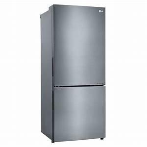 Lbnc15221v Lg Appliances 28 U0026quot  - 15 0 Cu  Ft  Bottom Freezer Refrigerator Titanium Steel