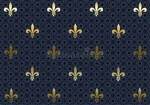 Dark Blue Fleur De Lis Background Wallpaper Stock