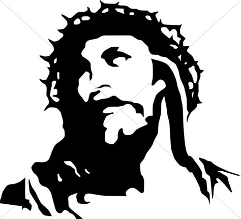 Abstract Jesus Black And White by With Crown Of Thorns