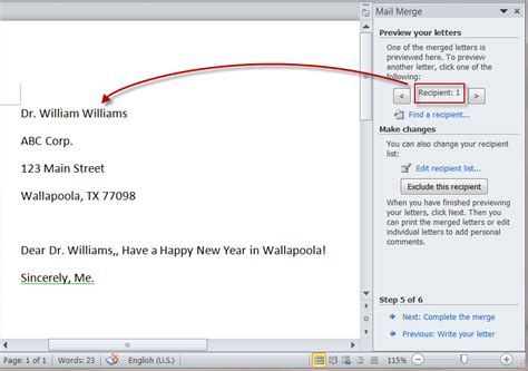 create merged letters  ms word  mail