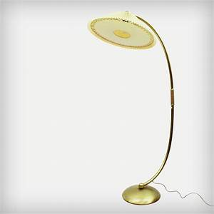 Unknown brass arc lamp with adjustable celluloid shade for Arc floor lamp with brass shade