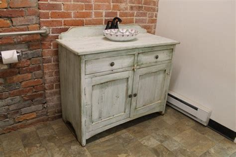 Hand Crafted Custom Painted Bathroom Vanity From Reclaimed
