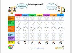Kids' Food Diary Balanced Meals Goals Chart Color the